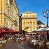 Cours Saleya, the famous market street in the historic center of Nice, France