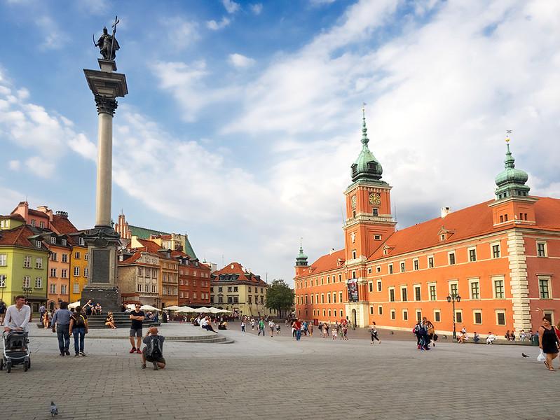 Historic Castle Square in Warsaw, Poland