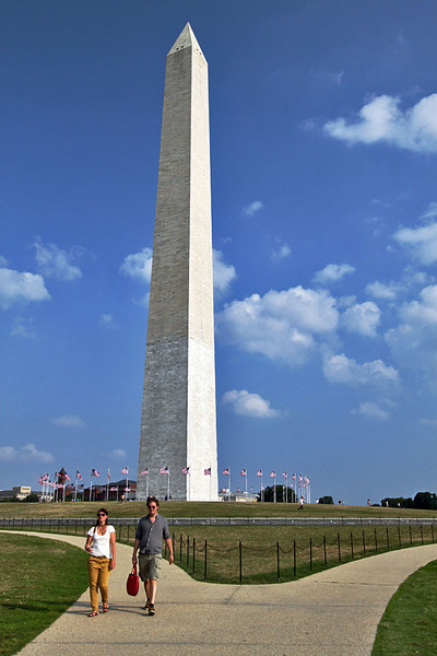 The Washington Monument in Washington, DC, clearly showing the two different color limestone blocks used on its construction