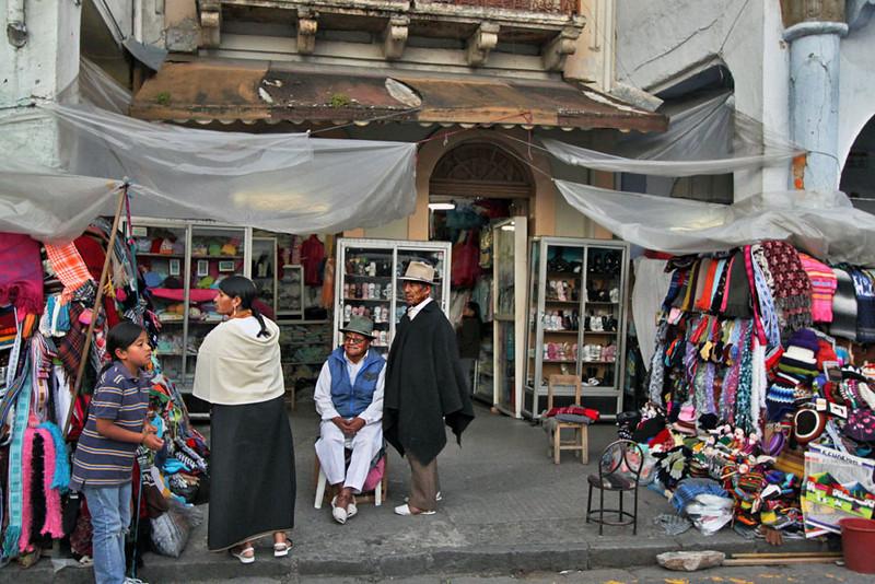 Indigenous Quichua vendors in Cuenca, Ecuador