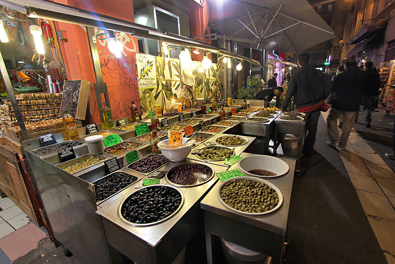 Olives at Algerian night market, Marseille, France