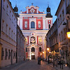 Cobblestone street leads to Parish Church of St. Stanislaus in Poznan, Poland