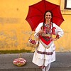 Woman wears the costume of a traditional washer woman in Zagreb, Croatia