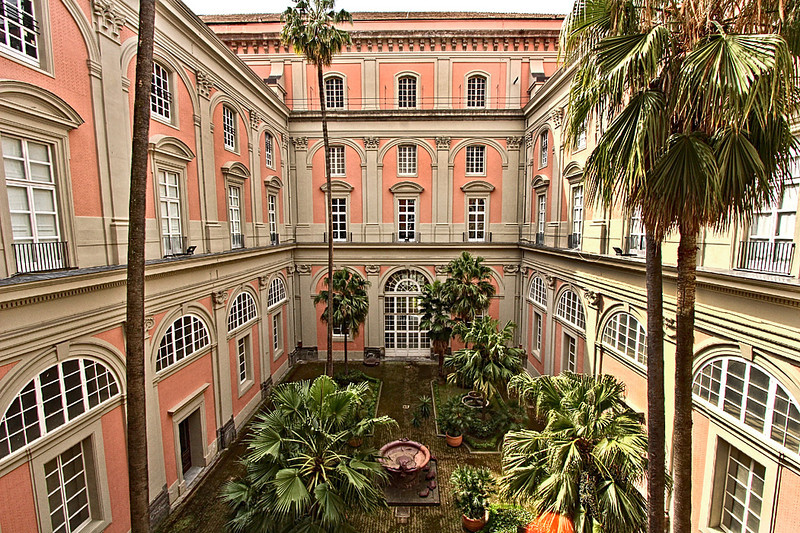 Inner courtyard of the National Museum of Archeology in Naples, Italy