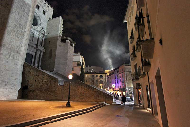 Saint Feliu Church and Streets of Girona, Spain, on a chilly winter night