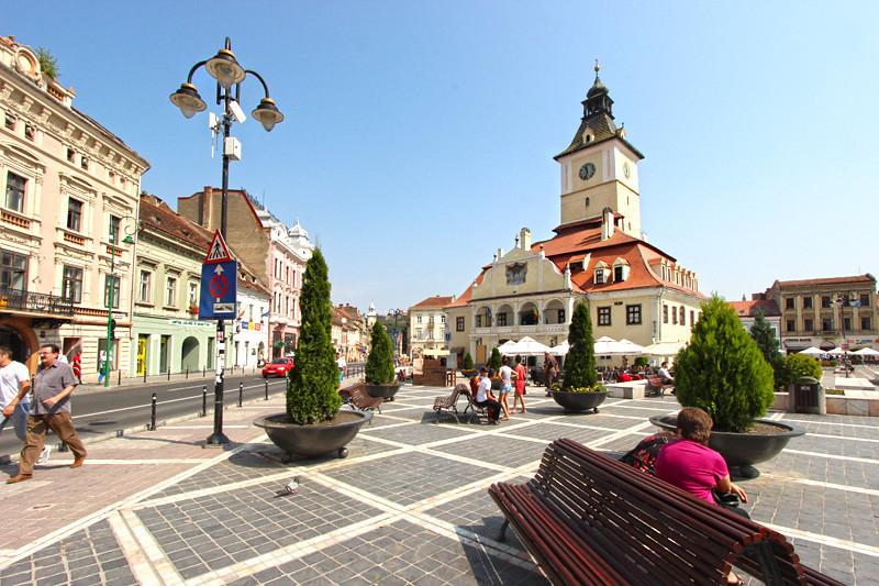 Piata Sfatului, the main plaza in the heart of the Old Town, Brasov, Romania