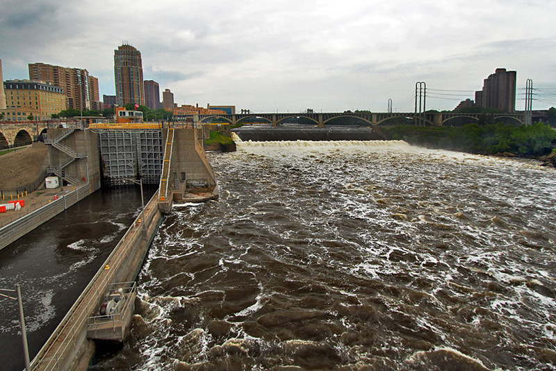 Locks and spillway in Minneapolis, Minnesota, site of the only waterfall on the Mississippi River
