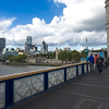 London's financial district and Tower of London, seen from the Tower Bridge