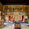 Iconostasis in the smaller nine-domed winter Church of the Intercession on Kizhi Island , Lake Onega, Russia