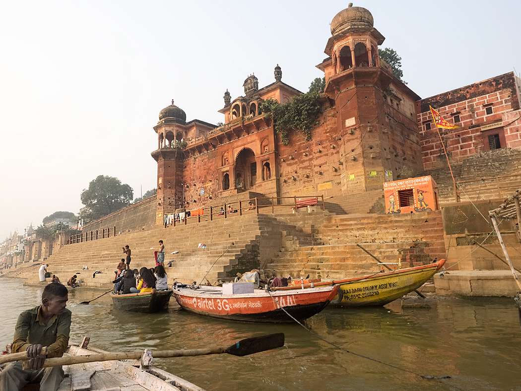 Dawn boat ride in Varanasi, India, takes me past Chet Singh Ghat and the historic Chet Singh Fort