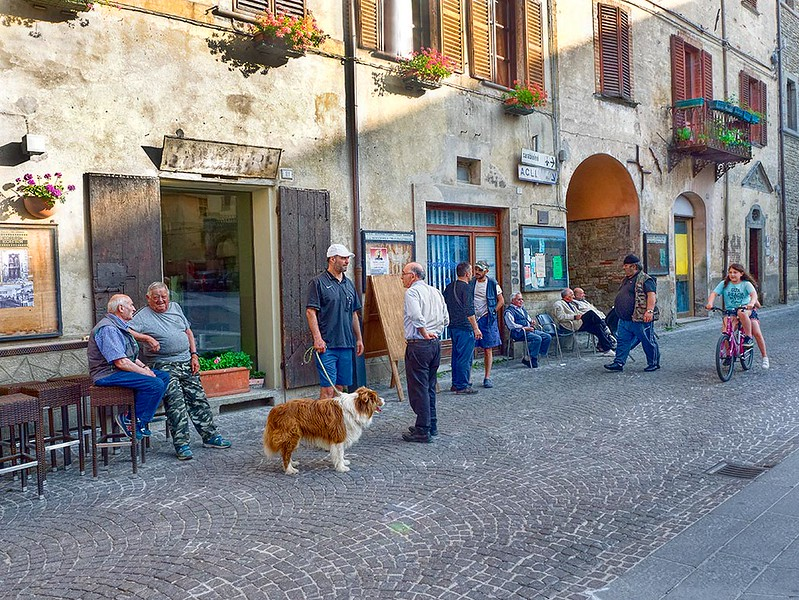 Residents gather every evening in the main piazza of Mercatello sul Metauro, Italy