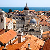 A sea of red tile rooftops in the Old City of Dubrovnik, Croatia