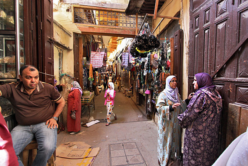 Shopping and gossip in the Medina in Fez, Morocco