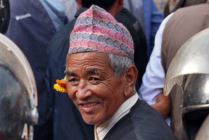 Man in Bhaktapur, Nepal, celebrates Festival of Bisket Jatra, the Nepali New Year