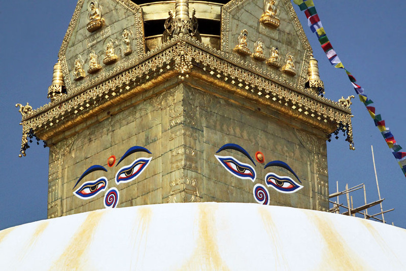All-seeing eyes atop the Swayambhu (Monkey) Temple in Kathmandu, Nepal