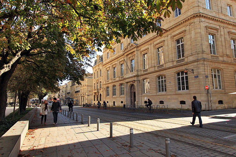 Sunny fall afternoon on street in Bordeaux, France