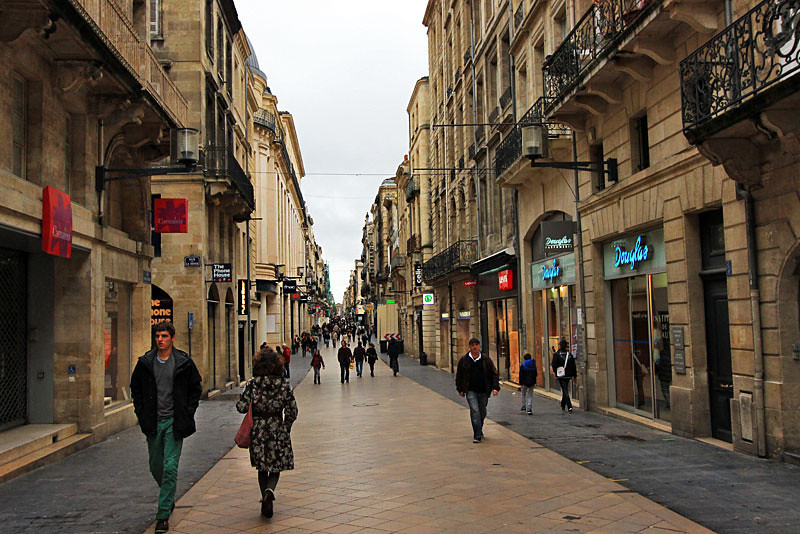 Pedestrian shopping street in Bordeaux, France