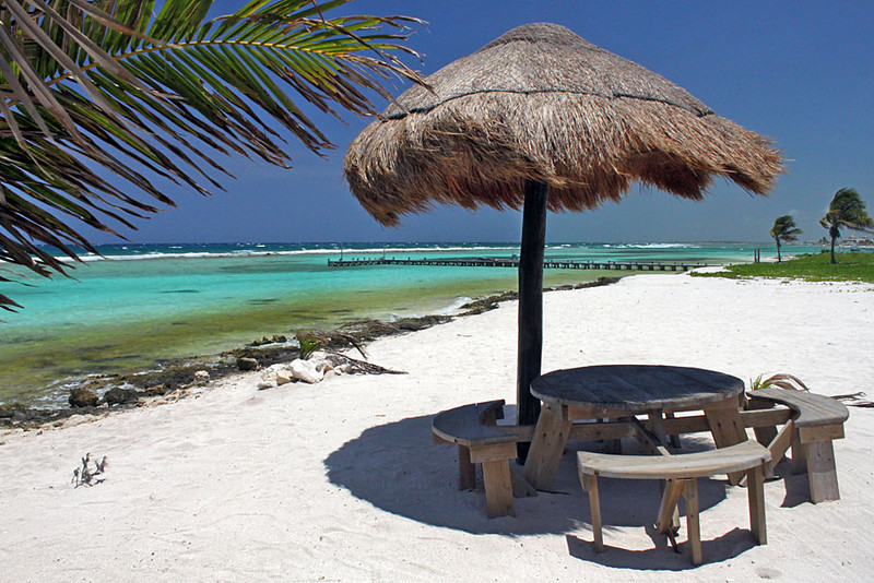 White Sand and Turquoise Waters in Majahual, on Mexico's Yucatan Peninsula