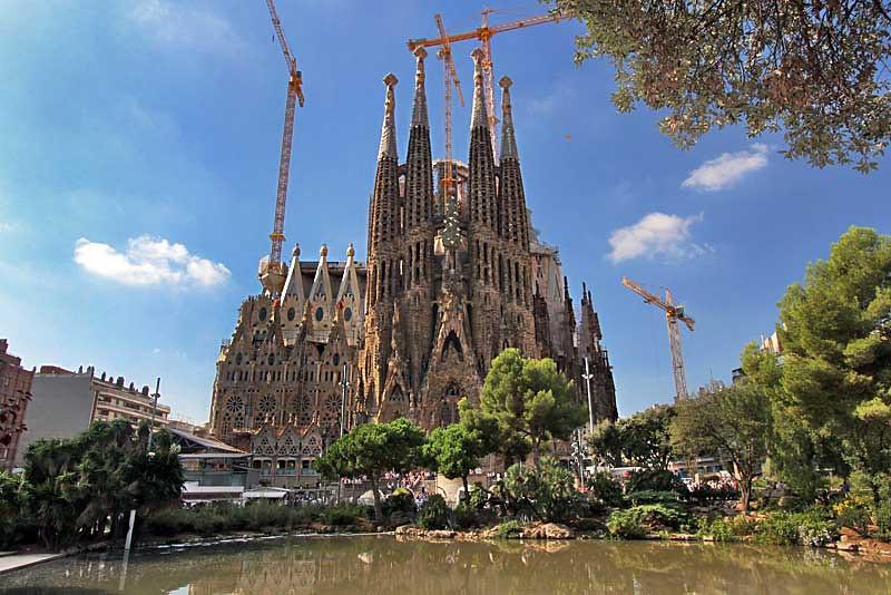 Gothic facade of Sagrada Familia Cathedral in Barcelona, Spain