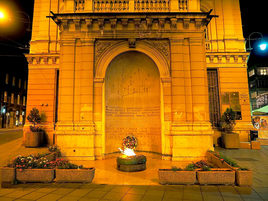 Eternal Flame in Sarajevo, Bosnia-Herzegovina, is a memorial to the military and civilian victims of the Second World War