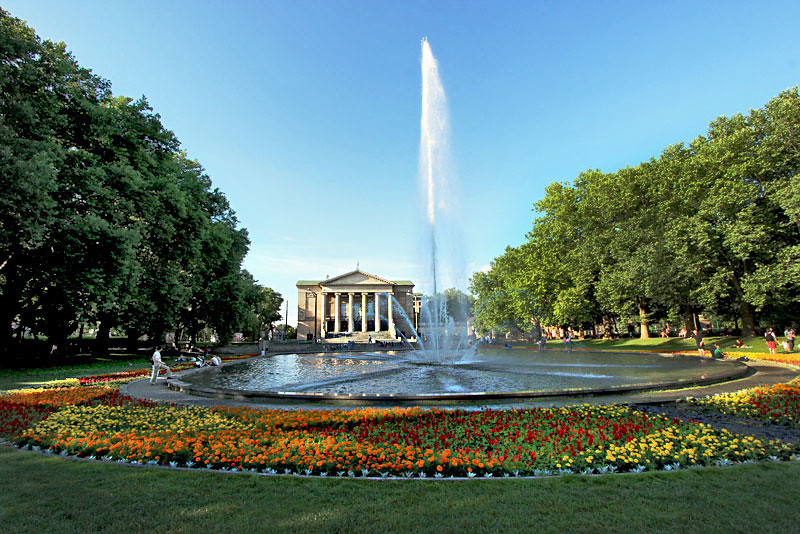 Fountain and Park at the Great Theater (Opera House) in Poznan, Poland