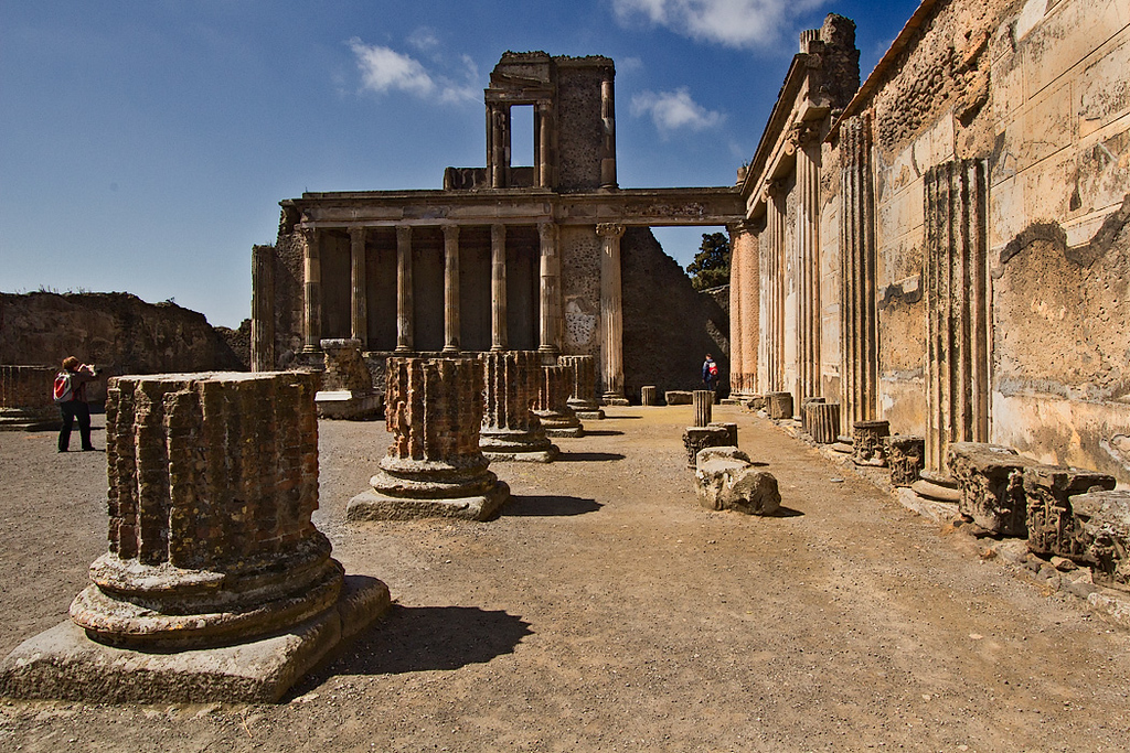 The Basilica at Pompeii was one of the most important buildings in the ancient town. Here, groups gathered to discuss business and deal with legal matters.