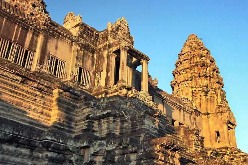 Sunrise lights up famous towers at Angkor Wat, Cambodia