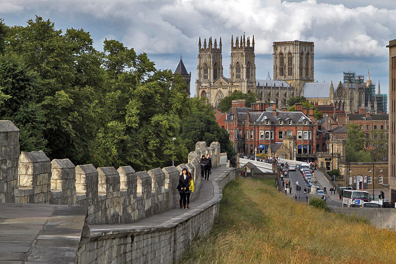 York Minster Cathedral and Old City Wall, York, England