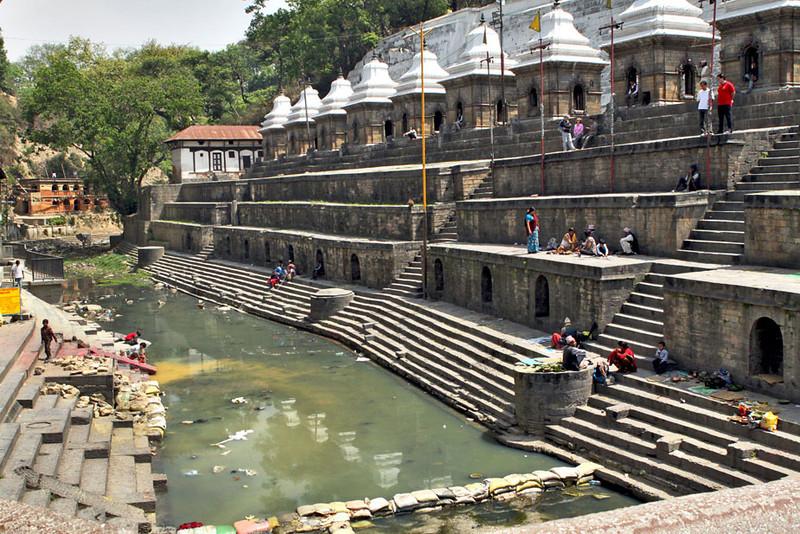 Bagmati River and funeral ghats at Pashupatinath Temple in Kathmandu, Nepal