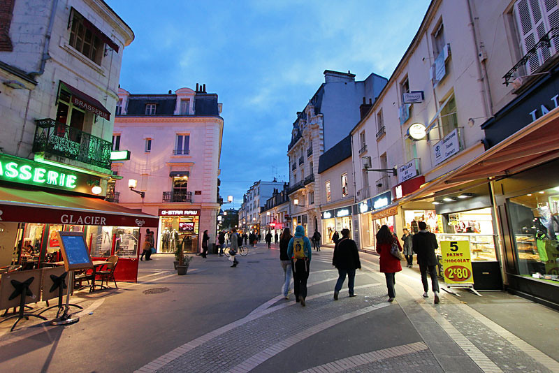 Streets of Tours, France at night