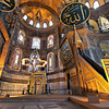 Altar inside Istanbul's Hagia Sophia, initially a Christian church, converted to a Mosque, and now a museum