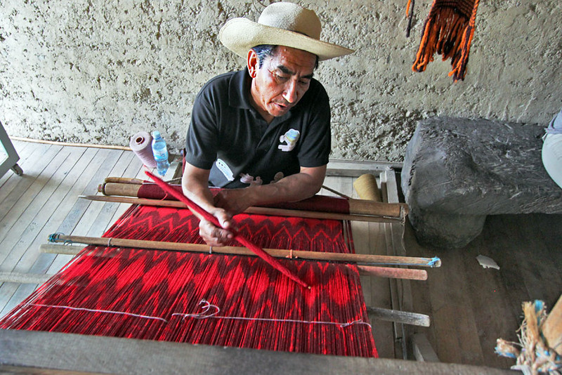 Weaver in Gualaceo is one of very few remaining artisans in Ecuador who weave shawls and scarves by hand from sheep's wool