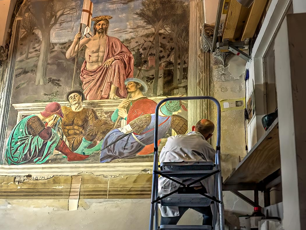 A Piero della Francesca painting is being restored in Sansepolcro, Italy, the home town of the famous Renaissance artist