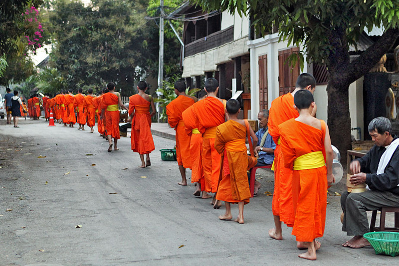 Monks accept alms every day at dawn in Luang Prabang, Laos