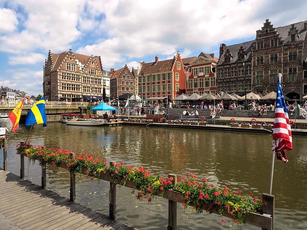Historic buildings on the Graslei and Korenlei in Ghent, Belgium