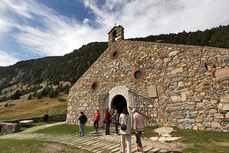 Ancient stone church n Vall de Nuria, Catalonia, Spain