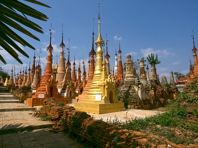 Some of the 1,047 ancient stupas that crown a hilltop at Shwe Indein Pagoda near Inle Lake, Myanmar
