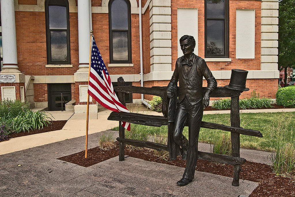 In Pontiac, Illinois, a sculpture of Abraham Lincoln stands in front of the Courthouse where he often practiced