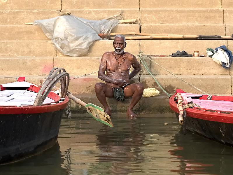 Bathing in the Ganges River in Varanasi, India