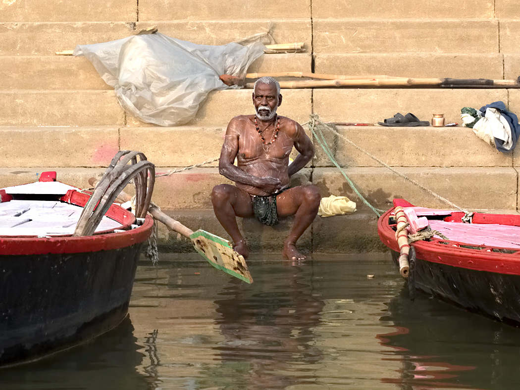Bathing in the Ganges River is a Common Sight in Varanasi, India