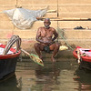 Bathing in the Ganges River in Varanasi, India