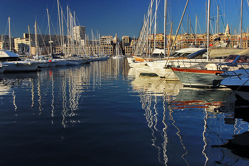 Boats in harbor at Vieux Port, Marseille, France
