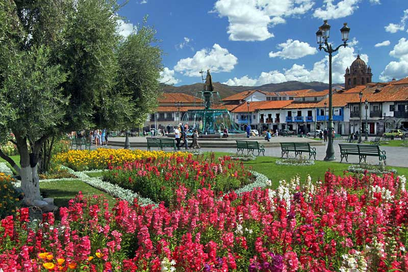 Plaza de Armas, the central square in Cusco, Peru