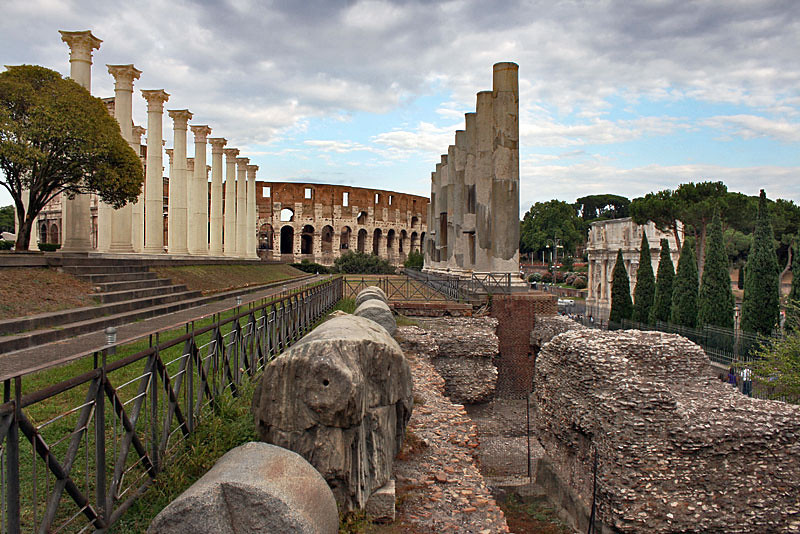 Looking Through Columns at the Roman Forum to the Colosseum in Rome, Italy