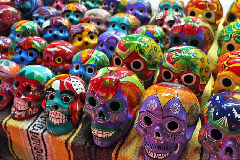 Ceramic skulls celebrate the important