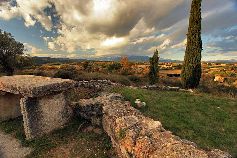 View from a hillside at sunset in Banyoles, Spain