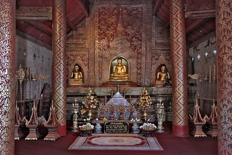 Interior of one of the small temples at Wat Phra Singh in Chiang Mai, Thailand
