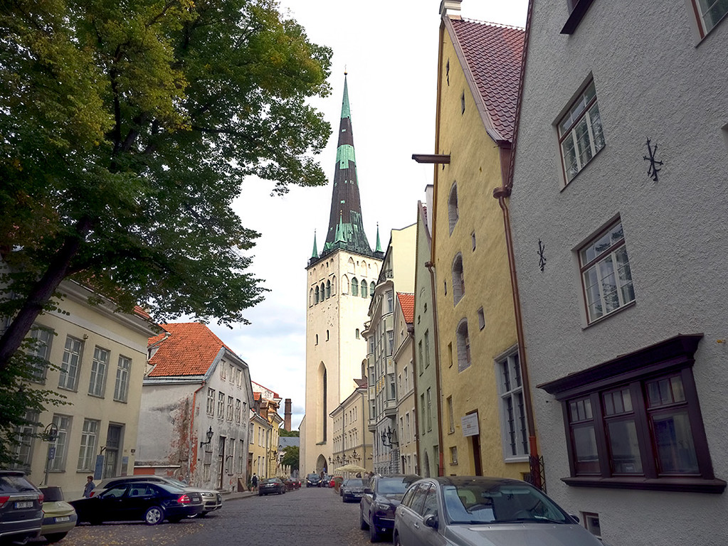 View down Lai Street toward Saint Olaf's Church in Tallinn, Estonia