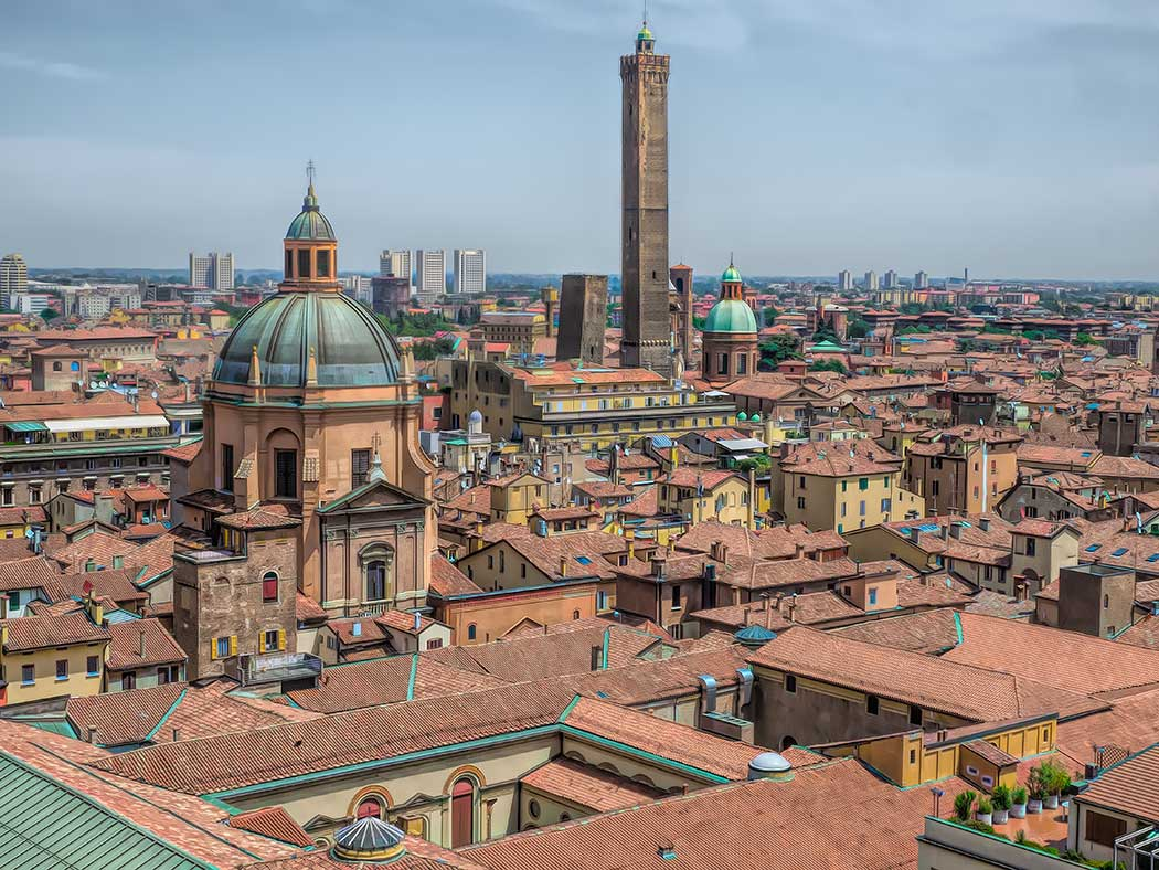 Skyline of Bologna, Italy, from rooftop terrace of the Basilica di San Petronio