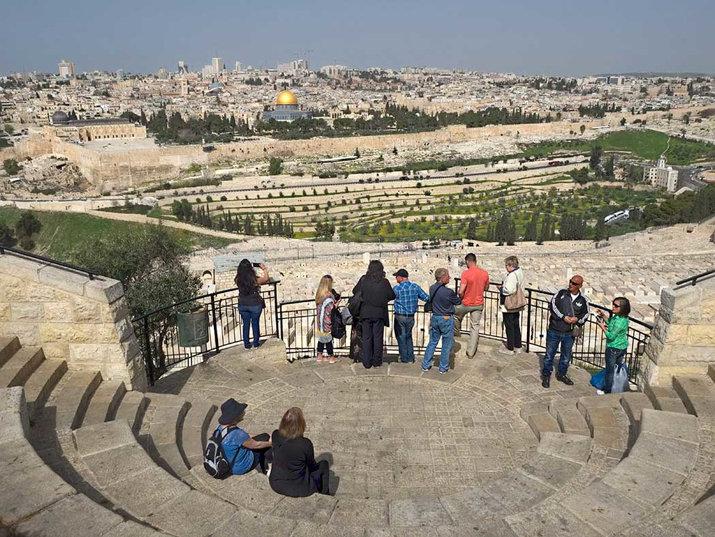 Old City of Jerusalem from viewpoint at the Mount of Olives, with golden dome of Temple Mount at center
